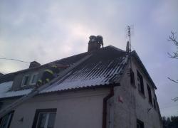 Pożar sadzy w kominie w Kostkowie
