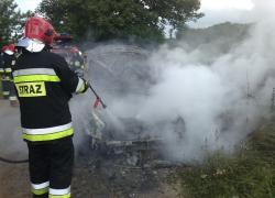 Pożar samochodu w Słuszewie
