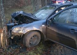 Wypadek samochodowy na trasie Opalino-Rybno.
