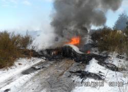 Pożar wiatraka w Jęczewie - 13.03.2013