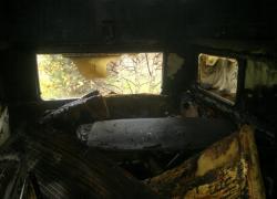 Pożar przyczepy kempingowej w Nadolu - 12.10.2013