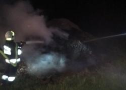 Pożar sterty trocin w Lisewie