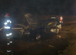 Pożar samochodu w Nadolu