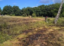 Pożar suchej trawy w Strzebielinku