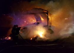 Pożar balotów siana w Bychowie