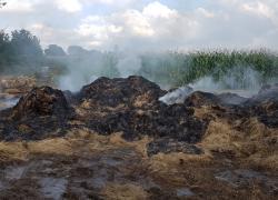 Pożar pogorzeliska balotów siana w Bychowie - 05.09.2019