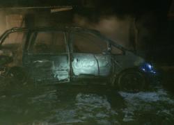 Pożar samochodu w Bychowie